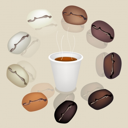 american cuisine: Coffee Time, Various Colors of Roasted Coffee Beans Around A Disposable Cup of Hot Coffee Served as A Beverage Without Cream or Milk on Retro Purple Background Illustration