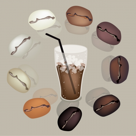 piccolo: Coffee Time, Various Colors of Roasted Coffee Beans Around A Glass of Iced Coffee on Retro Brown Blackground Illustration