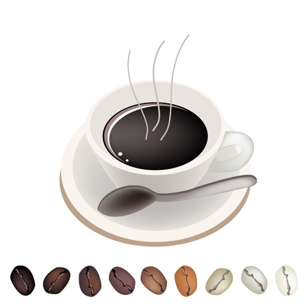 american cuisine: Coffee Time, A Row of Various Roasted Coffee Beans Laying Under A Cup of Hot Coffee Served as A Beverage Without Cream or Milk