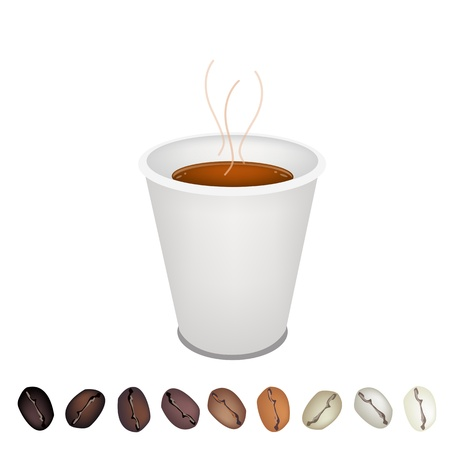processed food: Coffee Time, A Row of Various Roasted Coffee Beans Laying Under Takeaway Coffee in Disposable Cup Served as A Beverage Without Cream or Milk Illustration