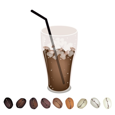 processed grains: Coffee Time, A Row of Various Colors Roasted Coffee Beans Laying Under A Glass of Iced Coffee  Illustration