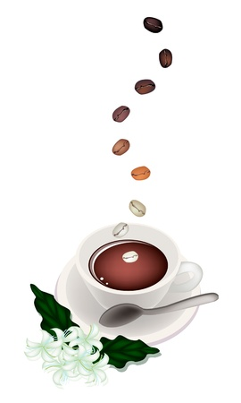 processed grains: Coffee Time, The Roasted Coffee Bean Falling Down to A Cup of Hot Coffee with Coffee Flower