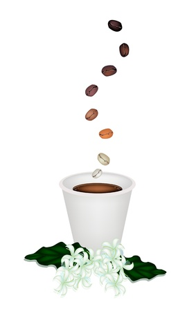 take away: Coffee Time, The Roasted Coffee Bean Falling Down to A Cup of Take Away Coffee with Coffee Flower
