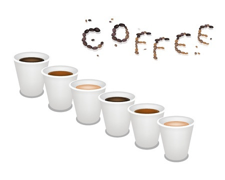 piccolo: Coffee Time, Different Types of Coffee in A Disposable Cup on Retro Light Brown Background with Coffee Word