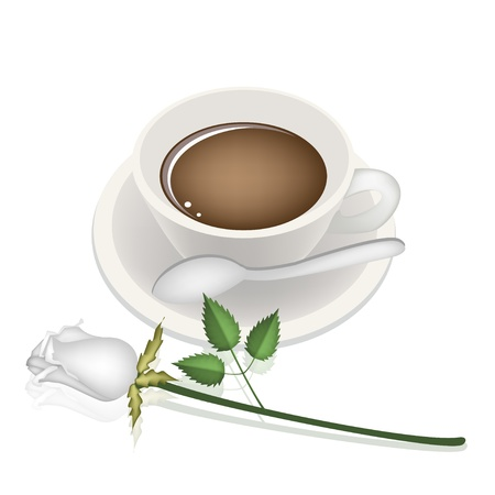 piccolo: Coffee Time, A Smoking Hot Coffee with A Beautiful Rose Served as A Beverage With Cream or Milk on Retro Blue Background Illustration