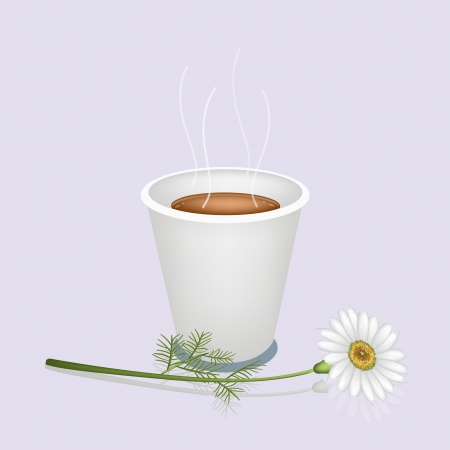 piccolo: Coffee Time, A Cup of Takeaway Coffee in Disposable Cup with A Beautiful Chamomile Flower or White Daisy Served as A Beverage With Cream or Milk on Retro Blue Background