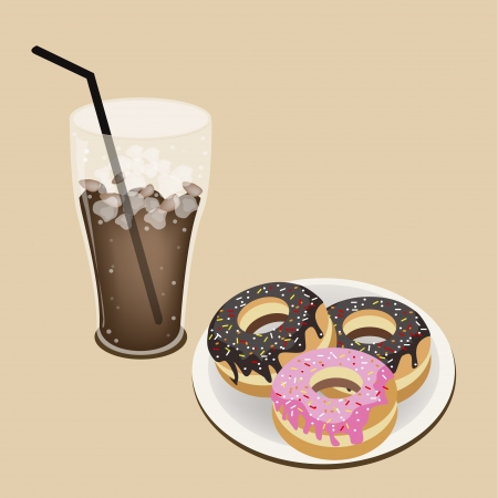 Coffee Time, A Glass of Iced Coffee or Cola Served With Delicious Sweet Donuts, Chocolate and Strawberry Toppings Vector
