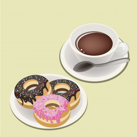 Coffee Time, A Cup of Hot Coffee Served With Delicious Sweet Donuts, Chocolate and Strawberry Toppings Vector