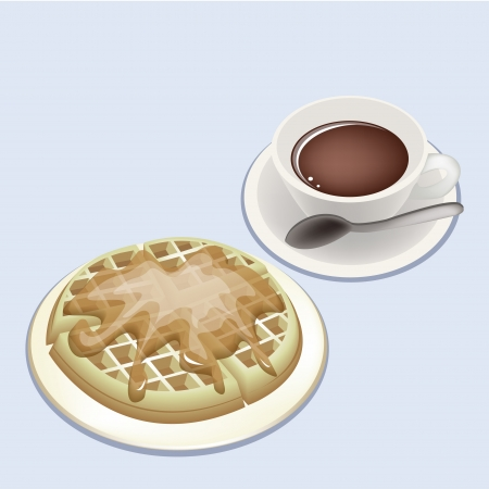 american cuisine: Coffee Time, A Cup of Hot Coffee Served With Freshly Homemade Belgian Waffles and Pouring Syrup Toppings Illustration