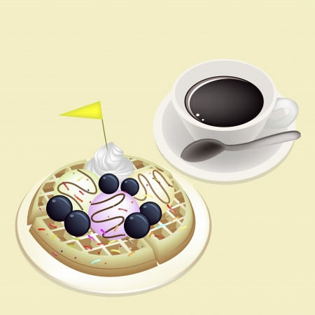 belgian waffle: Coffee Time, A Cup of Hot Coffee Served With Freshly Homemade Round Belgian Waffle Topped with Fresh Blueberries, Whipped Cream, Ice Cream and Little Yellow Flag Illustration