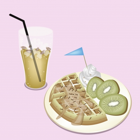 A Glass of Lemon Iced Tea Served With Freshly Homemade Belgian Waffle and Slices of Kiwi Fruit Vector