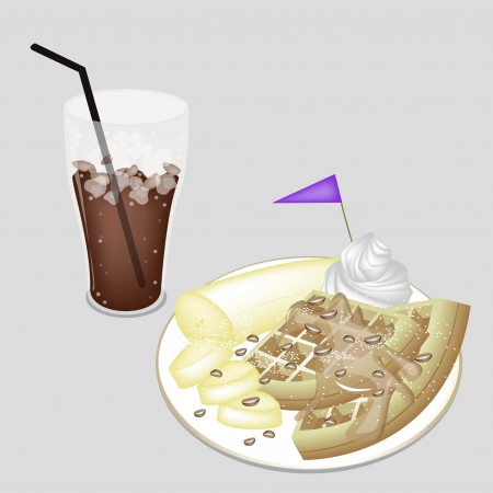 Coffee Time, A Glass of Iced Coffee or Cola Served With Waffle and Sliced Banana, Syrup, Chocolate Chips, Whipped Cream Vector