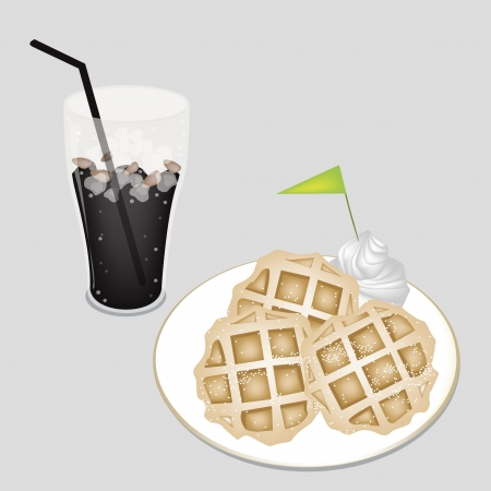 Coffee Time, A Glass of Iced Coffee or Cola Served With Freshly Homemade Round Belgian Waffles and A Little Green Flag Vector