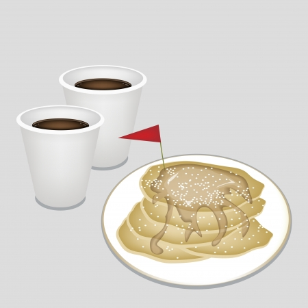 take out food: Coffee Time, A Cup of Takeaway Coffee in Disposable Cup Served With Freshly Homemade Pancakes and A Little Red Flag
