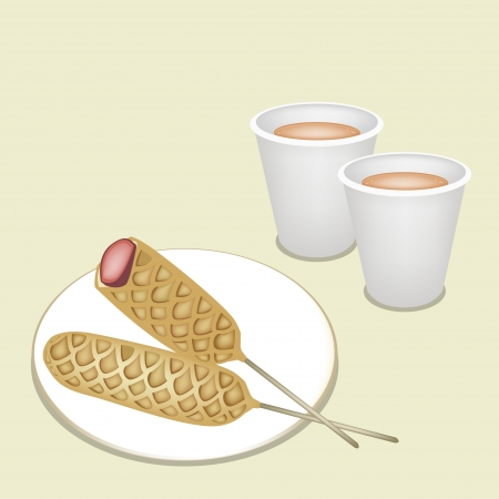 belgian waffle: Coffee Time, A Cup of Takeaway Coffee in Disposable Cup Served With Golden Brown Homemade Corn Dogs or Hot Dog Waffles on A Stick Illustration