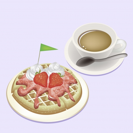 Coffee Time, A Cup of Hot Coffee Served With Freshly Homemade Round Belgian Waffle Topped with Fresh Strawberries, Syrup, Whipped Cream and Little Green Flag photo