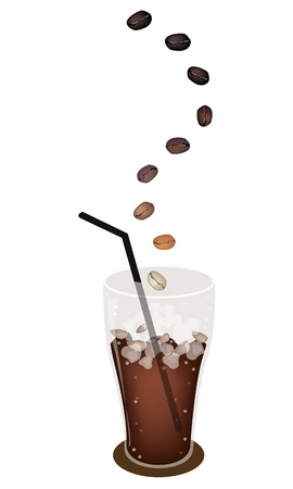 american cuisine: Coffee Time, The Roasted Coffee Bean Falling Down to A Glass of Iced Coffee