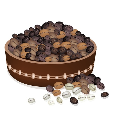 american cuisine: Coffee Time, An Illustration of Different Roasted Coffee Beans in A Wooden Bucket Isolated on A White Background Illustration