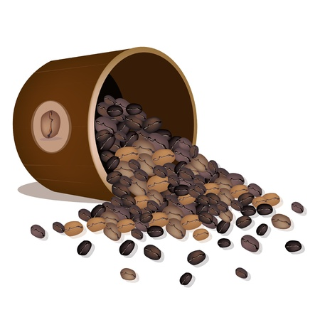 processed food: Coffee Time, An Illustration of Different Roasted Coffee Beans Dropped from A Wooden Bucket Isolated on A White Background Illustration