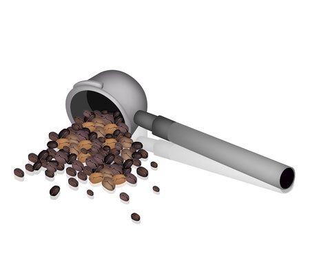 processed grains: Coffee Time, An Illustration of Different Roasted Coffee Beans in Metal Portafilter of Espresso Coffee Machine Illustration