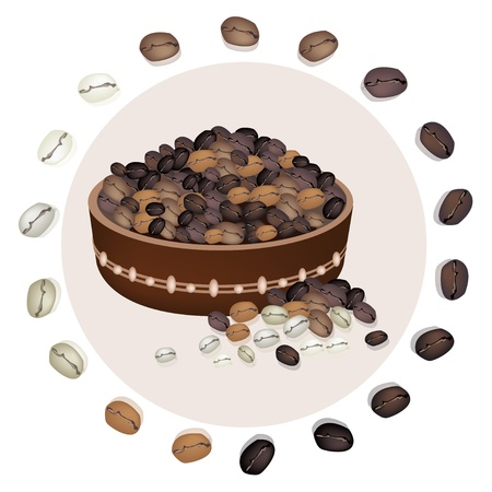 processed food: Coffee Time, An Illustration Various Kind of Roasted Coffee Bean Around A Wooden Bucket with Bean Isolated on A White Background
