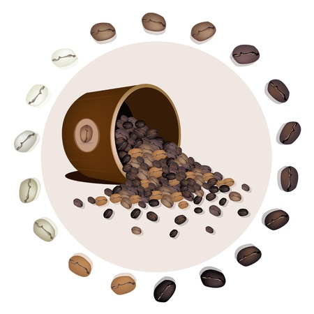 Coffee Time, An Illustration of Different Roasted Coffee Beans Dropped from A Wooden Pail Vector