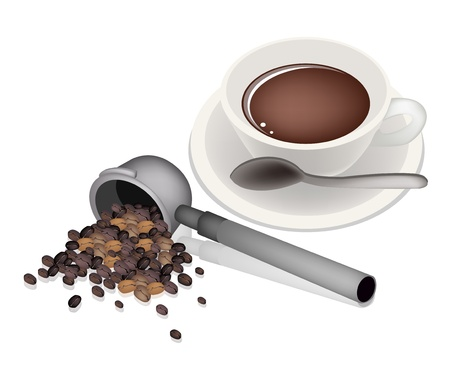processed food: Coffee Time, An Illustration of Different Roasted Coffee Beans in Metal Portafilter of Espresso Coffee Machine with A Cup of Coffee  Illustration