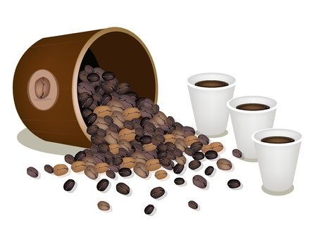 processed food: Coffee Time, An Illustration of Different Roasted Coffee Beans Dropped from A Wooden Bucket with A Cup of Take Away Coffee