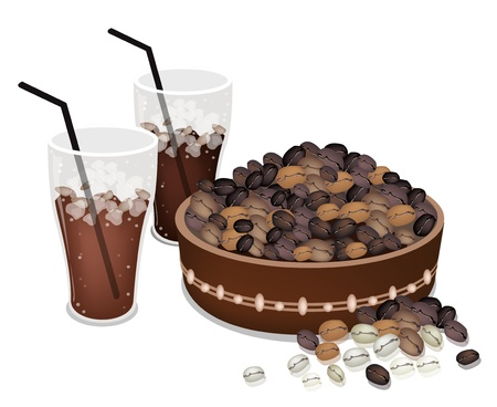 processed grains: Coffee Time, An Illustration of Different Roasted Coffee Beans in A Wooden Bucket with A Glass of Iced Coffee Illustration
