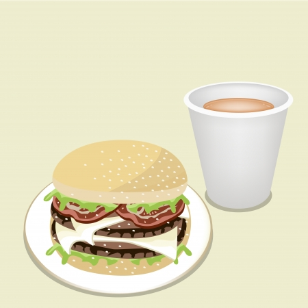 take away: An Illustration of Delicious Double Cheese Burgery with Lettuce, Tomato, Onions and Cheese on Wheat Buns with Take Away Coffee Illustration