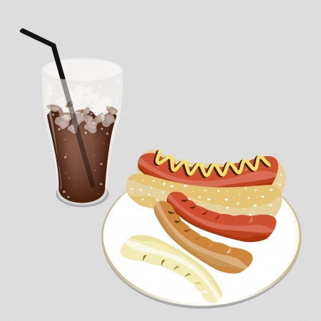 An Illustration of A Glass of Iced Coffee or Cola Dink and Delicious Grilled Hot Dog with Mustard and Wheat Bun Vector