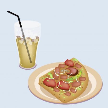 mozzarelle e formaggi: Un esempio di servizio Delicious Pepperoni Pizza con pomodoro fresco, pesto, olive, foglie di basilico e sputi di formaggio mozzarella, servito con un bicchiere di t� freddo al limone