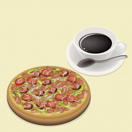 An Illustration of Delicious Pepperoni Pizza with Fresh Tomato, Pesto Sauce, Olives, Basil Leaves and Gobs of Mozzarella Cheese, Served With A Cup of Coffee