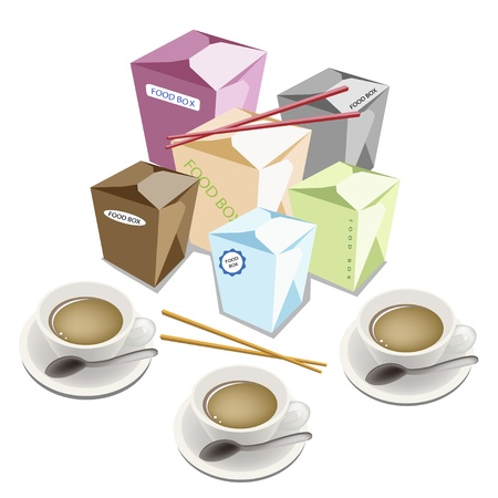 chinese takeout box: An Illustration of Muti Size and Colorful Blank Chinese Food Containers and Chopsticks Isoleted on White Background