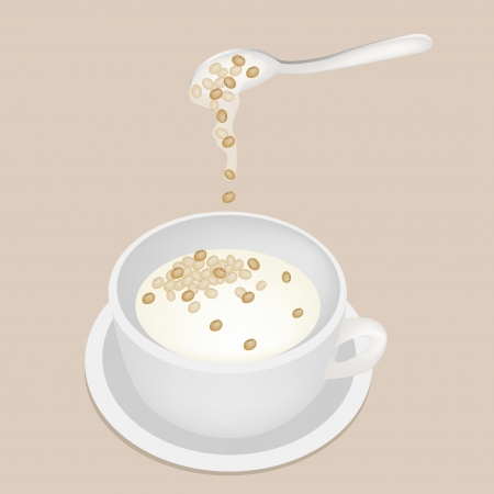cereal bowl: Sweet Food and Dessert Food, Delicious Soy Beans Sweet Dessert with Coconut Milk Isolated on White Background Illustration