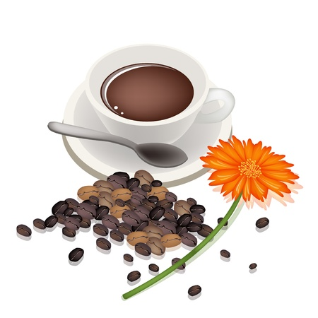 processed grains: Coffee Time, A Cup of Hot Coffee with Stack of Roasted Coffee Beans and Orange Daisy Flower