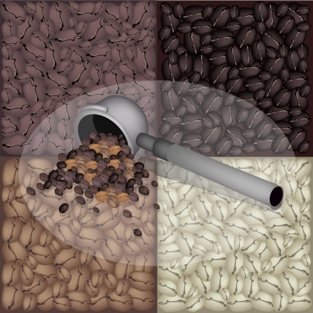 processed grains: Coffee Time, An Illustration of Metal Portafilter of Espresso Coffee Machine on Roasted Coffee Beans Background