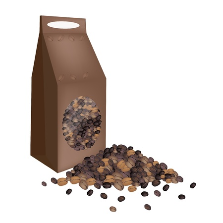 processed grains: Coffee Time, An Illustration of Different Roasted Coffee Beans Stack with A Paper Bag Isolated on A White Background
