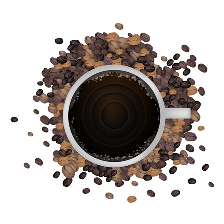 processed grains: Coffee Time, High Angel View of A Cup of Coffee with Roasted Coffee Bean