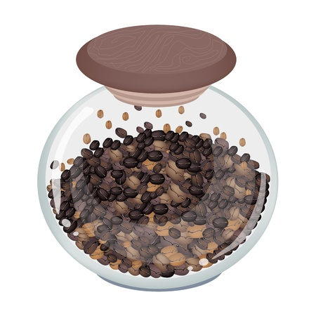 processed grains: Coffee Time, An Illustration of Different Roasted Coffee Beans in A Round Glass Jar Isolated on A White Background