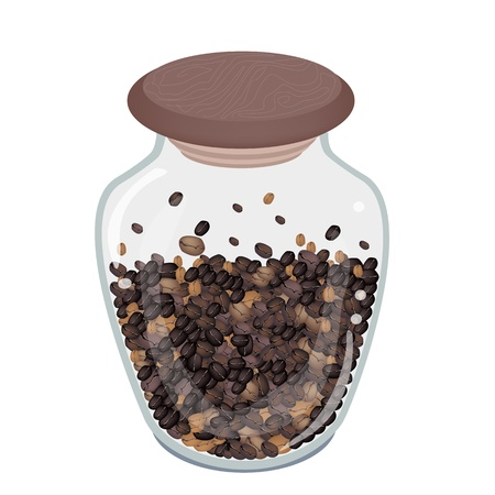 Coffee Time, An Illustration of Different Roasted Coffee Beans in Glass Jar Isolated on A White Background Vector