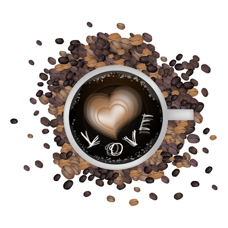 processed grains: Coffee Time, Latte Art of Milk Cream Drawing A Heart and Writing Love Word on A Cup of Coffee Isolated on White Background Illustration