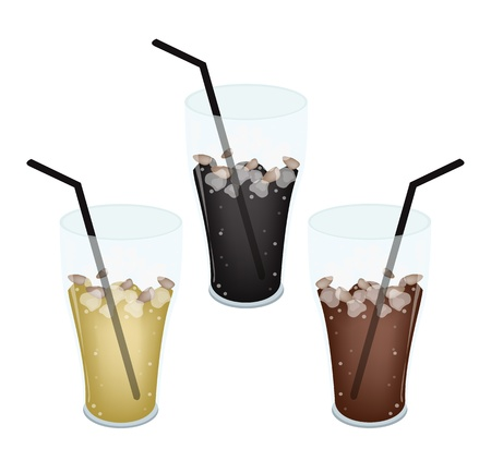 piccolo: Coffee Time, Iced Coffee, Iced Tea or Cola Isolated on A White Background