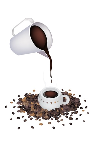 litre: Coffee Time, A White Measure Cup Pour A Cup of Hot Coffee with Roasted Coffee Bean Isolated on White Background