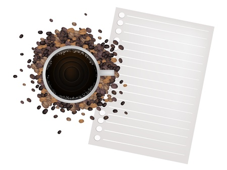 Coffee Time, High Angel View of A Cup of Coffee and Roasted Coffee Bean with Blank Spiral Paper Isolated on White Background Vector