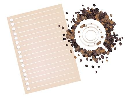 manchas de cafe: Coffee Time, High �ngel Vista de manchas caf� hecho de grano de caf� tostado con espiral de papel en blanco aislado en fondo blanco