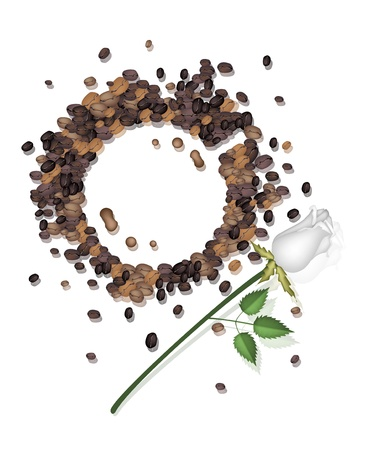 Coffee Time, High Angel View of Coffee Stains Made From Roasted Coffee Bean with A Beautiful Rose Served as A Beverage With Cream or Milk Vector