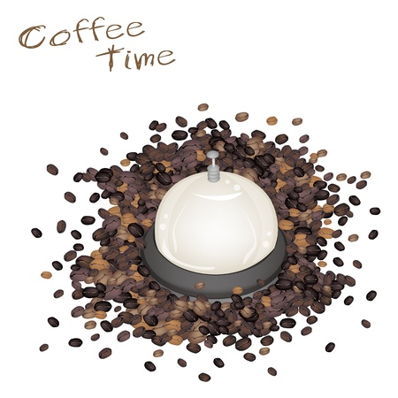 processed grains: Coffee Time, Beautiful Service Bell with Roasted Coffee Bean Isolated on White Background