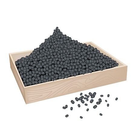 legume: An Illustration Heap Of Black Dried Beans in Wooden Box Isolated on White Background Illustration