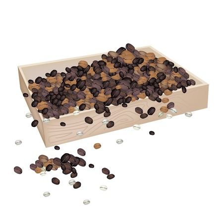 processed grains: An Illustration Heap Of Roasted Coffee Beans in Wooden Box Isolated on White Background